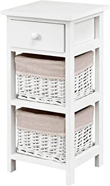 Giantex Nightstand W/Baskets for Bedroom Home Furniture Storage Bedside Wooden End Table (1, White)