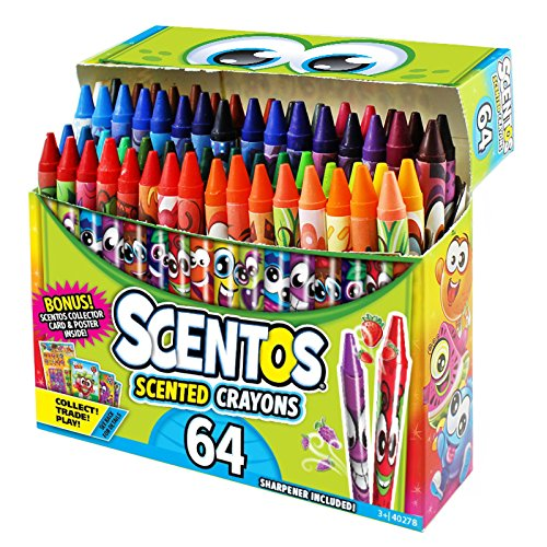 Scentos Scented Crayons - 64 Count - Crayons for Kids 64 Pack of Crayons