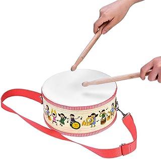 Dilwe Tambor de Juguete Musical para Ni?os, Mano de Madera Mini Tambor de Instrumento de Percusi¨®n con Palillos Correa de Hombro Austable