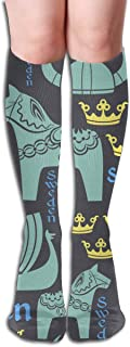 National Symbols Of Sweden Blue Women's Graduated Compression Sock Cartoon Colorful 19.7 inches