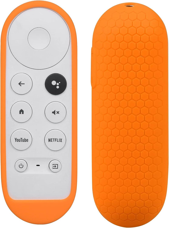Silicone Case Compatible with Google TV 2020 Voice Remote - SYMOTOP Shockproof Protective Remote Cover Skin Compatible with Chromecast with Google TV 2020 Voice Remote Control - Orange