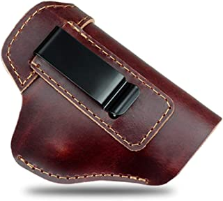 REFINEMMEE Genuine Leather IWB Conceal Carry Holster for Glock 17 19 22 23 32 33 / S&W M&P Shield/Springfield XD & XDS, and All Similar Sized Handguns