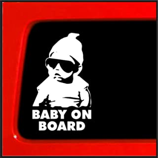 Pack of 2 Exterior Stickers Baby Safety Sign for Your Car Vehicle Truck Vinyl Sticker Decal 5 x 5 Funny Graphic Car Window Laptop Self Adhesive for Smart Parents Delzam Baby ON Board