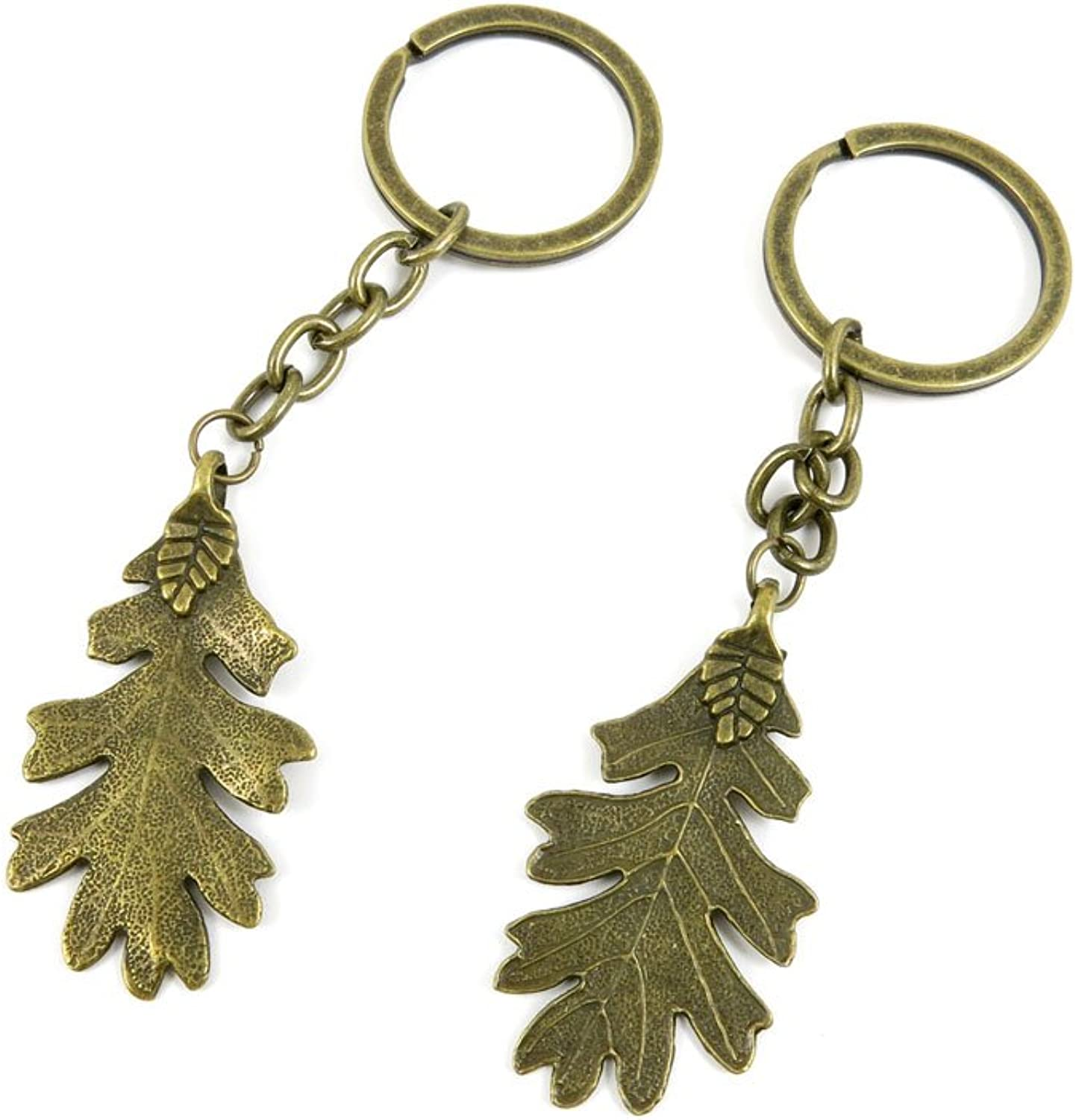 120 Pieces Fashion Jewelry Keyring Keychain Door Car Key Tag Ring Chain Supplier Supply Wholesale Bulk Lots T9GR7 Leaf Leaves