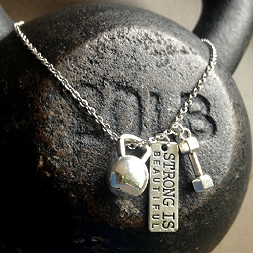 Titanium Never Tarnish Workout Necklace by Lolly Llama - Trendy Weightlifting Jewelry Necklace with'Strong is Beautiful' Charm