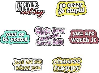 Shuning Fun Quotes Enamel Pins Choose Happy You Are Worth It Brooches Dialog Badge Shirt Lapel Pin Novel Motto Enamel Pin ...