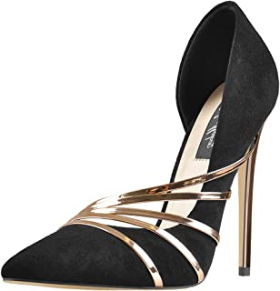 Women's Pointed Toe D-Orsay Stiletto High Heel Sexy Pump with Gold high Heel Pumps