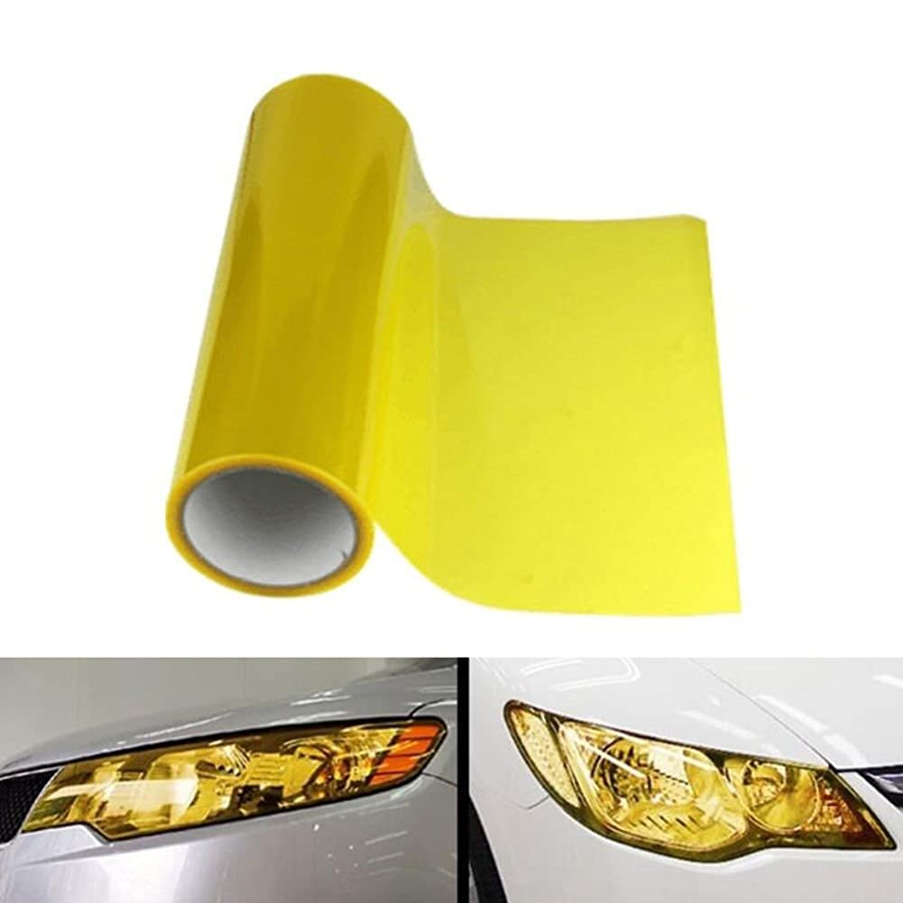 オレンジペット心理学Jicorzo - Car Headlight Tailight Film Sheet Cover Sticker Yellow Vinyl Wrap Car styling Fit For Jeep Nissan Honda VW Skoda
