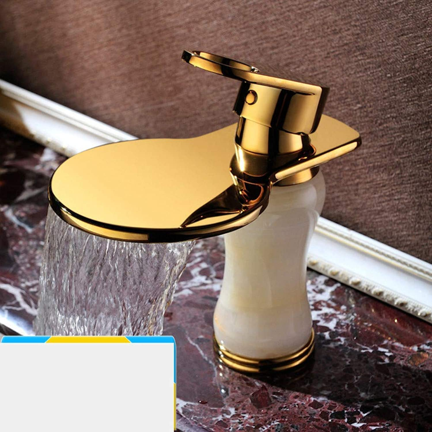 Water Tap Sink Taps Waterfall Faucet Jade Hot and Cold European Basin Faucet Single Hole gold-Plated Waterfall Faucet Wash Basin