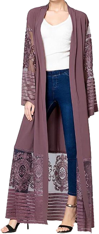KLJRWomen Stylish Lace Hem Line Spliced Long Sleeve Muslim Abaya