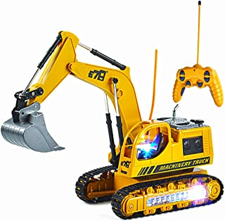 Uizbeer RC Remote Control Construction Excavator Tractor Truck Toy Vehicle, 5CH Full Function Diecast Engineering Digger Car with Metal Shovel Flash Lights for Toddler Boys/Girls