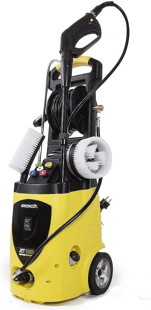 GREENCUT JET380C - Hidrolimpiadora electrica de 3200W con presión máxima de 262bars, Limpieza Exteriores, Vehículos, Máquinas con 5 opciones de presión + 2 cepillos + 1 pistola