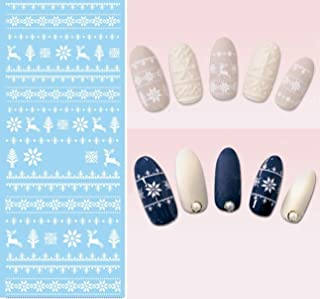 1 Pc/Set White Reindeer Nail Art Stickers Water Transfer Professional Girls Stamp Plates Pretty Popular Glitter Decals Nails Wraps Kits