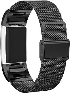 Fitbit Charge 2 バンドPinhen Fitbit Charge2ステンレス鋼バンド 用時計バンドスマートウォッチ交換ベルト ミラネーゼループバンド腕時計ベルト対応Fitbit Charge 2 (Mesh Black)