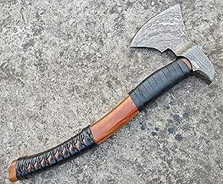 Ottoza Custom Handmade Damascus Tomahawk Axe 17.5 inch - Damascus Axe - Survival Axe - Camping Axe - Bushcraft Axe - Wood Axe - Battle Axe - Damascus Steel Axe - Viking Axe with Sheath No:81