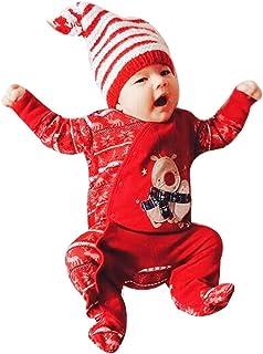 recién Nacido bebé Mameluco de Navidad Peleles Pijamas Conjunto bebé niño niña Mono de venado navideño Manga Larga Mono con Estampado de Ciervo 6-24 Meses