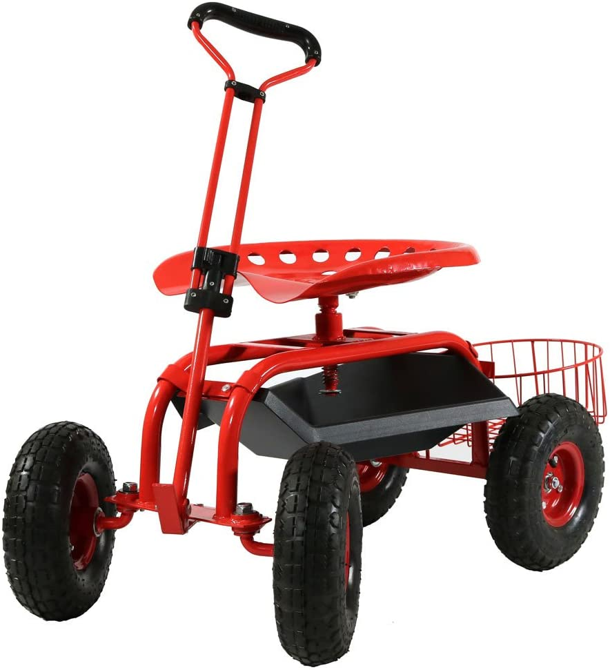 Sunnydaze Garden Cart Rolling Scooter with Extendable Steer Handle, Swivel Seat & Utility Tool Tray, Red : Garden & Outdoor