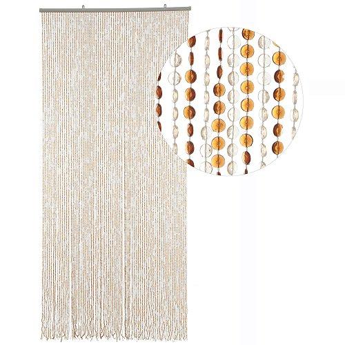 HAB & GUT Türvorhang Mini-DIAMANTEN, Hellbraun/BRAUN, 90x200 sehr dicht, Insektenschutz Perlen Pailettenvorhang