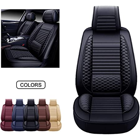Front Pair, Grey Faux Leatherette Automotive Vehicle Cushion Cover for Cars SUV Pick-up Truck Universal Fit Set for Auto Interior Accessories Leather Car Seat Covers