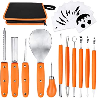 OWUDE Professional Pumpkin Carving Kit, 11 Pieces Heavy Duty Stainless Steel Carving Tools for Halloween with Carrying Case and 10 Pcs Carving Templates - Orange
