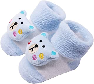 Dolloress Cute Annimal Baby Socks with Anti Slip Bottom for Newborn Baby Boys Girls Toddlers for Kids 0 to 2 Years
