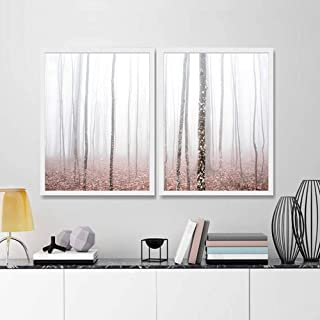 LSSJLUH Set of 2 Forest Landscape Canvas Art Prints Blush Pink Nature Poster Painting Pastel Wall Art Home Wall Decor