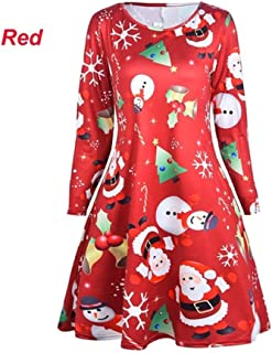FDBZ Plus Size Winter Christmas Day Tree Deer Snow Man Dress Women Long Sleeve O neck Loose A Line Dress Christmas Clothes Female|Dresses,330 Red,5XL