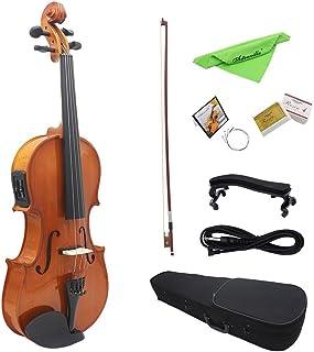 "Ammoon 4/4tamaño completo acústica Natural EQ Violin Fiddle cara de abeto madera maciza con 6,35mm 1/4""conector alambre hombro resto colofonia arco cadena paño de limpieza duro caso"