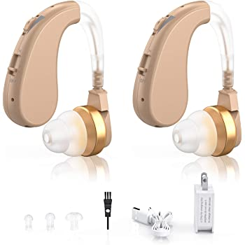Digital Hearing Amplifiers - Rechargeable Personal Sound Enhancer with Volume Control Noise Reduction for Adults and Seniors, Hearing Aid Brushes Included by Blomed (2-Pack)