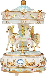 Docooler Mini Carousel Clockwork Music Box Colorful LED Merry-go-Round Musical Box Gift for Girlfriend Kids Children Christmas Festival Blue