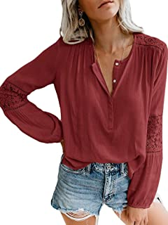 Sibylla Womens Casual Long Sleeve Basic Button Up Chiffon Shirts High Low Loose Fit Tunic Tops Blouse