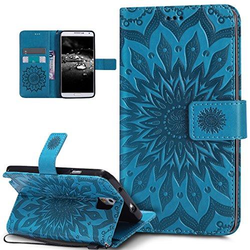 Kompatibel mit Galaxy Note 3 Hülle,Galaxy Note 3 Schutzhülle,Prägung Mandala Blumen Sonnenblume PU Lederhülle Flip Hülle Cover Schale Ständer Etui Wallet Tasche Case Schutzhülle für Galaxy Note 3,Blau