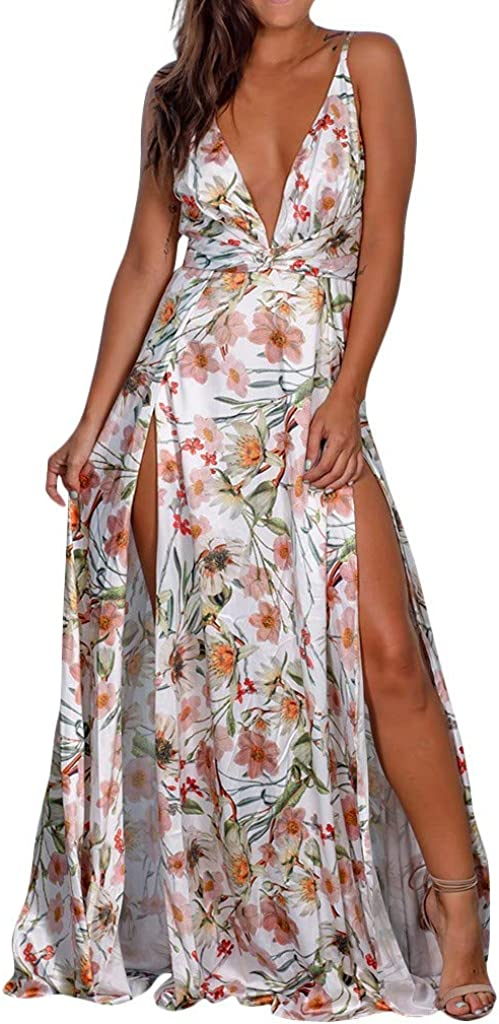 Women's Floral Printed Spaghetti Los Angeles Mall Strap wholesale Dres Maxi Long Sleeveless