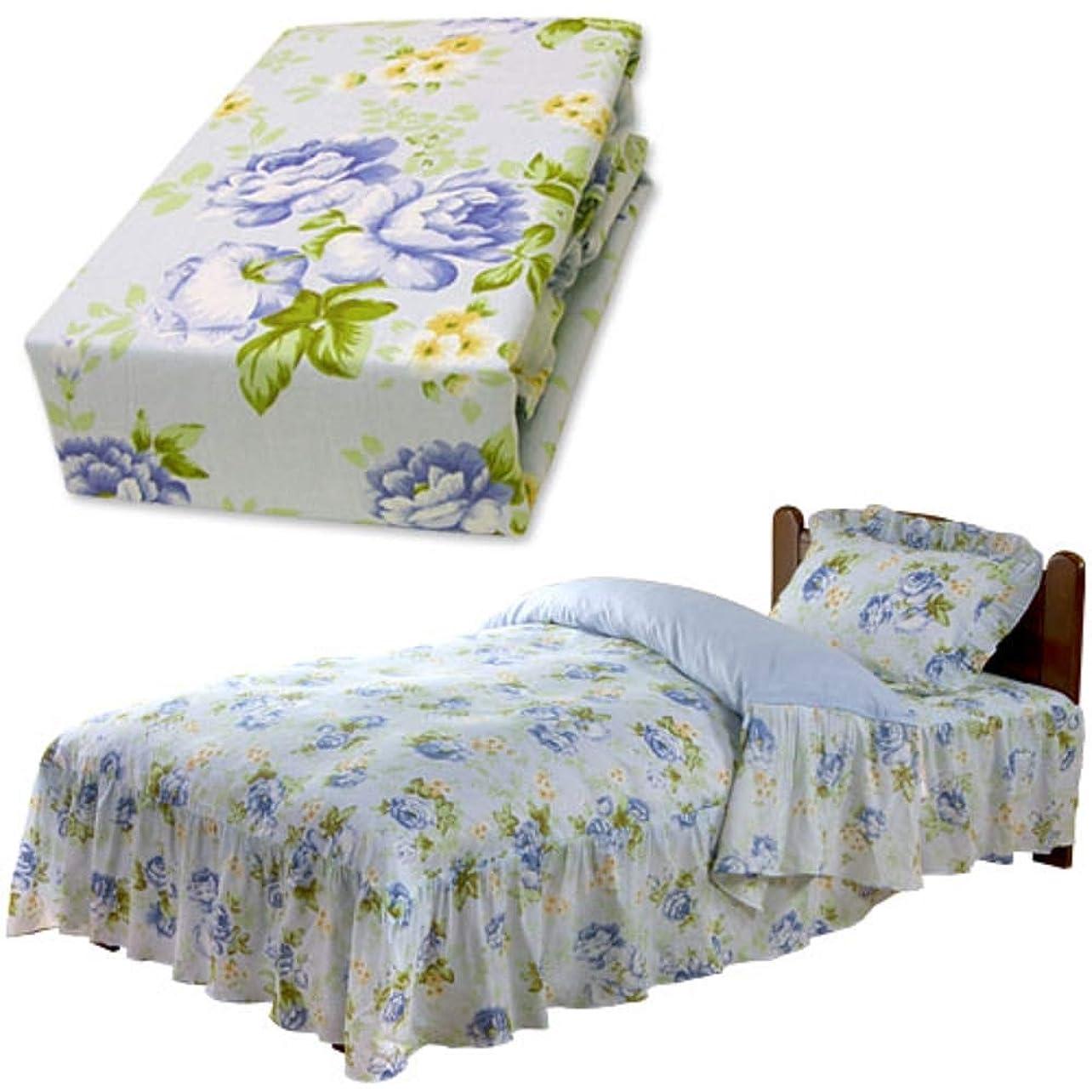 トロリー祖父母を訪問含めるメーカー直販 ロココ調 ベッドスカートフリル付き 花柄ベッド用掛け布団カバー ダブル 190×210cm ※フリル長さ:35cm(各サイズ共通) ブルー