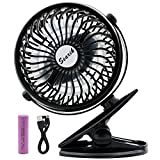 Clip on Battery Operated Fan, Searik Portable Mini Personal Fan 360 Rotation Table Cooler Fan with 2600mAh Rechargeable Battery for Home, Office, Library, Camping, Baby Stroller
