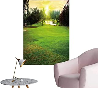 SeptSonne Wall Painting Golf Course Gorgeous Green pon Sunset High-Definition Design,32