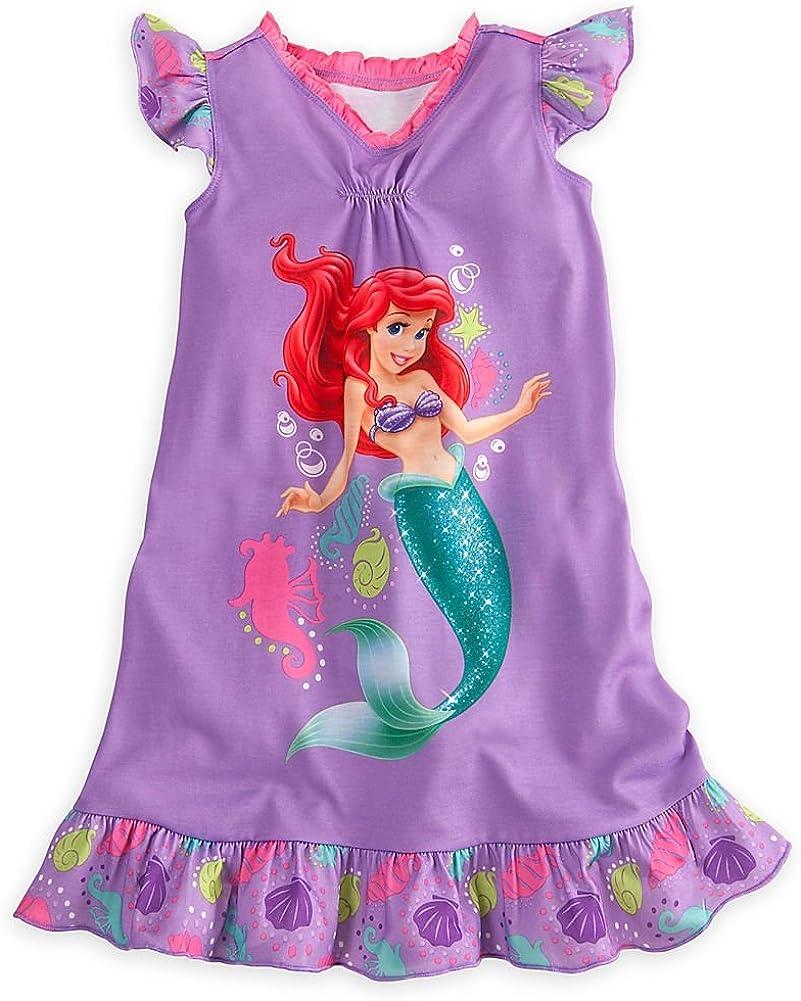 Disney Store Princess Ariel Little Mermaid Nightgown Nightshirt Size Medium 7/8 Purple