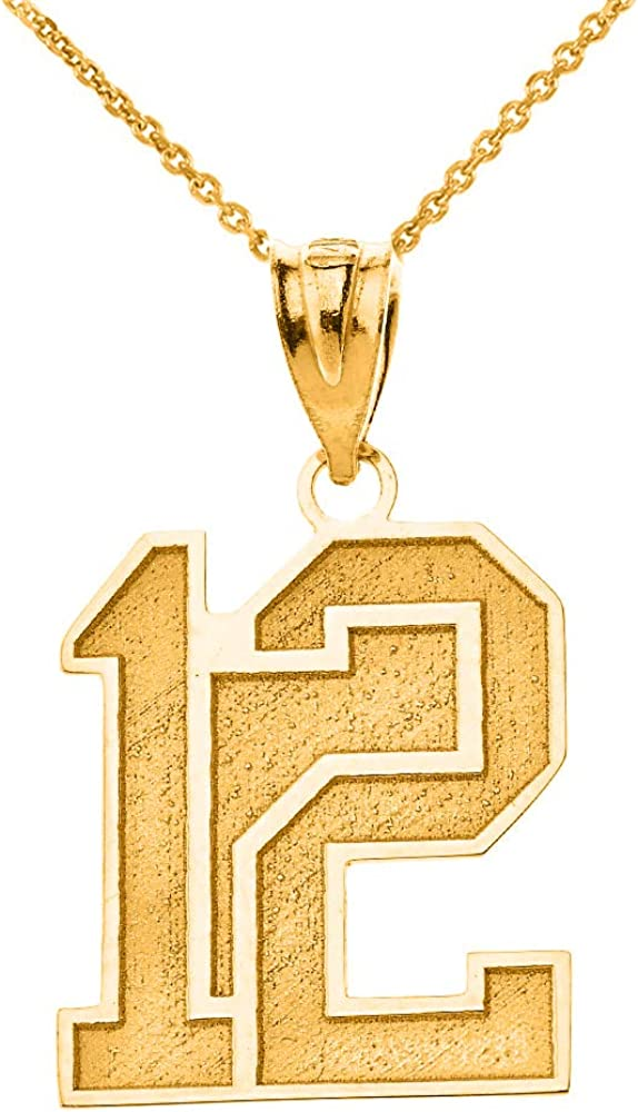 Certified 10k Gold Personalized Sports Charm Jersey Two Digits Number and Name Pendant Necklace