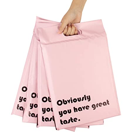 RUSPEPA Poly Mailers 10x13 Inch Pink with Build-in Handle Shipping Bags 3 Mil Pretty Thick Self Adhesive Mailing Envelopes - 50 Pack