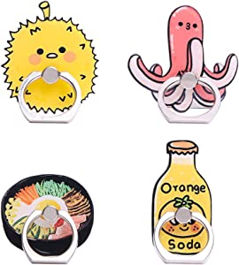UnderReef Phone Holder Stand, Cute Sushi Foods Cell Phone Ring Holder 360 Rotation Hand Grip Stand Desk Car for iPhone Samsung Smartphone Tablet 4 Packs (Noodles Octopus Ball Soda)