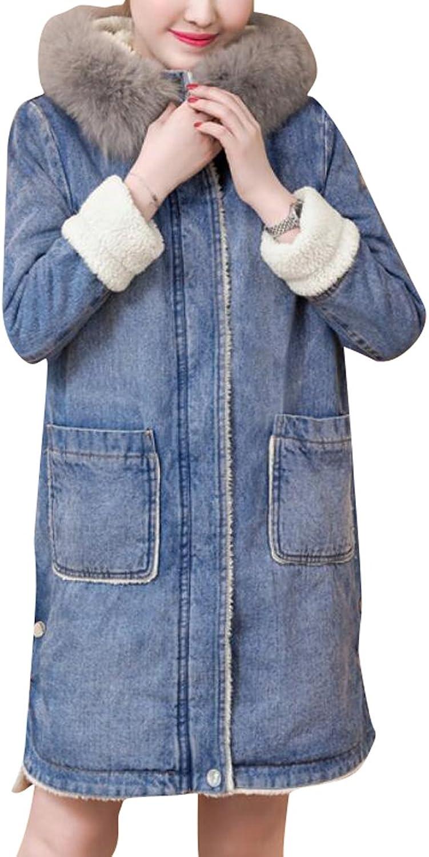 KLJRWomen Slim Fit Sherpa Lined Hooded Zipper Denim Shearling Jacket