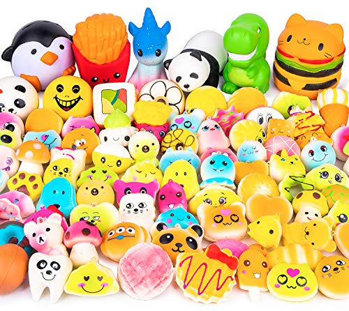 WATINC Random 50Pcs Squeeze Toys Cream Scented Kawaii Simulation Lovely Toys Jumbo Medium Mini Soft Squeeze Toys, Phone Straps, Keychain for Birthday Gifts, Stress Relief Toys for Kids and Adults