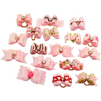 POPETPOP 30pcs Dog Bows Pet Hair Rubber Bands Christmas Styles Dog Bows for Holidays Festival Dog Bows Pet Dog Grooming Bows Dog Hair Accessories