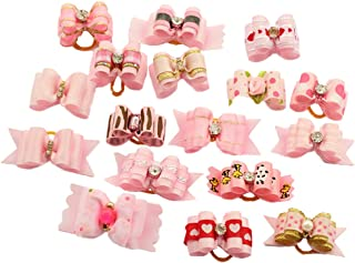 PET SHOW Mixed Styles Pet Cat Puppy Topknot Small Dog Hair Bows with Rubber Bands Grooming Accessories Pack of 20
