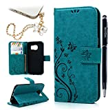 Galaxy S7 Edge Wallet Case - Mavis's Diary Fashion Floral Butterfly Embossed PU Leather Magnetic Flip Cover Card Holders & Hand Strap for Samsung Galaxy S7 Edge with Bling Dust Plug & Pen (Blue)