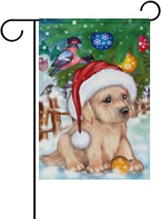 Naanle Christmas Puppy Dog Double Sided Polyester Garden Flag 28 x 40 Inches, Bird on Winter Tree Decorative Large House Flag for Party Yard Home Decor