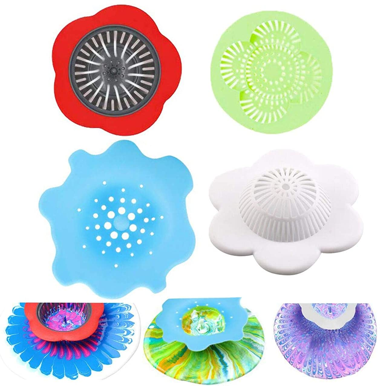 Acrylic Pouring Strainers Plastic Silicone Strainer Flower Drain Basket Acrylic Paint Pouring Supplies dckxaenyjdqvc097