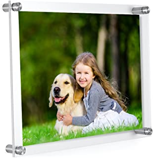 MeetU Acrylic 8.5 x 11 Frame -Inner 8x10 Picture Frame -Wall Mount Photo Frame to Use As Family Picture Frame, Baby Photo Frame, Document Frame, Art Frames -Make a Supper Clear Floating Look