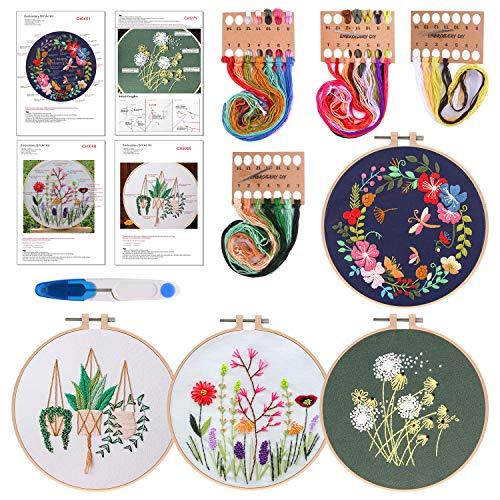 FEPITO 7 PCS Stickstarterkit mit Muster und Anleitung Kreuzstichpackung inklusive 4 PCS Stickerei Kleidung mit Blumenmuster, 2 PCS Kunststoff-Stickrahmen, Farbfadennadel-Kit