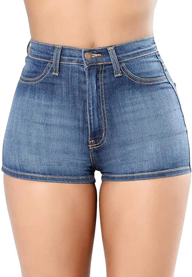 MOUTEN Women Summer Casual High Rise Bodycon Washed Denim Shorts Jeans